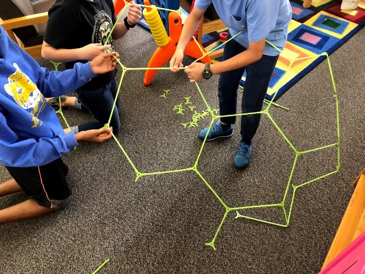 Students Creating with Strawbees