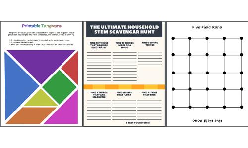 3 Printable STEM Games