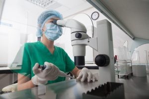 lab researcher wearing mask