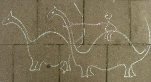 life size dinosaur made from chalk
